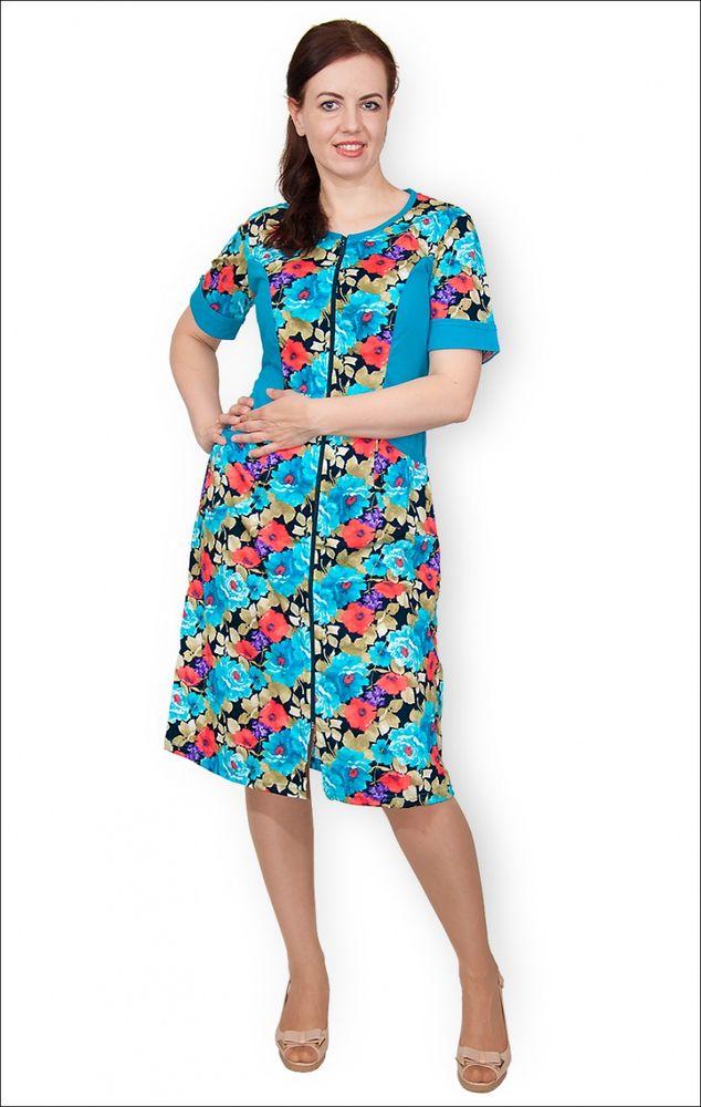 Халат женский КайяЛегкие халаты<br>Халат женский на молнии, рукав отделан манжетом, спинка целиковая, пояс из окантовки. Размер: 62<br><br>Высота: 9<br>Размер RU: 62