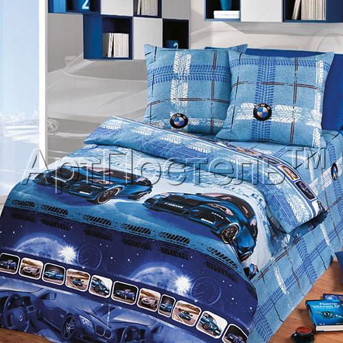 """Постельное белье """"Драйв"""" синий (бязь) 1,5 спальный"""