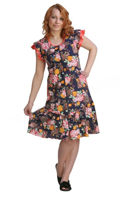 Халат женский КатлинЛегкие халаты<br>Знаете ли вы, что отличает по-настоящему хорошее изделие? Сочетание высокого качества, стильного дизайна, удобного фасона и, конечно же, приемлемой цены. И именно все это вы сможете найти в модели женского халата Катлин.<br>Стильный женский халат покажется вам самой удобной одеждой для дома, и это неудивительно: ведь он выполнен из мягкой кулирки, которая позволяет коже дышать. Но это еще не все: женский халат Катлин имеет полуприталенный фасон, очаровательные руква-крылышки и застежку-молнию. По низу изделие дополнено оборкой, а по бокам есть удобные карманы для мелочей.<br>Приобрести данный халат вы можете в нашем интернет - магазине онлайн по очень привлекательной цене и с доставкой на дом!<br><br>Длина по спинке:<br>48 размер 94 см<br>50 размер 95 см<br>52 размер 96 см<br>54 размер 97 см<br>56 размер 98 см<br>58 размер 99 см Размер: 56<br><br>Высота: 4<br>Размер RU: 56