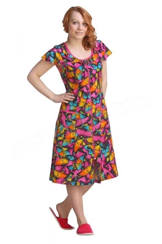 Халат женский КларисаЛегкие халаты<br>Хотите добавить красок в повседневные будни и скучную рутину? Это легко сделать при помощи яркой и привлекательной домашней одежды, которая будет ежедневно поднимать настроение. Отличный пример &amp;amp;mdash; женский халат Кларисса.<br>Для любительница комфорта и красоты этот халат &amp;amp;mdash; настоящая находка. Стопроцентный натуральный хлопок гипоаллергенен, хорошо пропускает воздух и обладает оптимальной гигроскопичностью. Легкая и невесомая кулирка легко отстирывается, не выцветает и сохраняет форму на протяжении долгого времени. Несколько вариантов расцветок позволят выбрать модель по вкусу.<br>Женский халат Кларисса сочетает стильный дизайн и доступную цену. Вы можете убедиться в этом самостоятельно, заказав его прямо сейчас! Размер: 54<br><br>Принадлежность: Женская одежда<br>Основной материал: Кулирка<br>Страна - производитель ткани: Россия, г. Иваново<br>Вид товара: Одежда<br>Материал: Кулирка<br>Сезон: Лето<br>Тип застежки: Молния<br>Состав: 100% хлопок<br>Длина рукава: Без рукава<br>Длина: 19<br>Ширина: 14<br>Высота: 4<br>Размер RU: 54