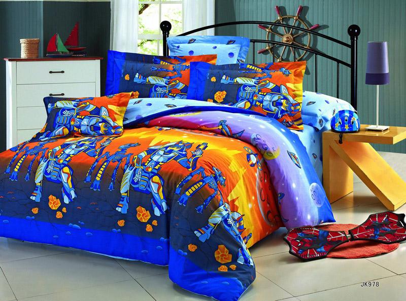 """Простыня """"Робот"""" (поплин) 1.5 спальный (145х215) от Grandstock"""