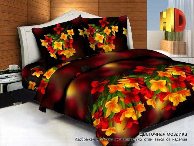 Постельное белье Цветочная мозаика 3D (сатин) 2 спальныйСатин 3D и 5D<br>Размер: 2 спальный<br><br>Принадлежность: Для дома<br>Плотность КПБ: 130 гр/кв.м<br>Категория КПБ: Цветы и растения<br>По назначению: Повседневные<br>Рисунок наволочек: Расположение элементов расцветки может не совпадать с рисунком на картинке<br>Основной материал: Сатин<br>Вид товара: КПБ<br>Материал: Сатин<br>Сезон: Круглогодичный<br>Плотность: 130 г/кв. м.<br>Состав: 100% хлопок<br>Комплектация КПБ: Пододеяльник, простыня, наволочка<br>Длина: 37<br>Ширина: 28<br>Высота: 9<br>Размер RU: 2 спальный