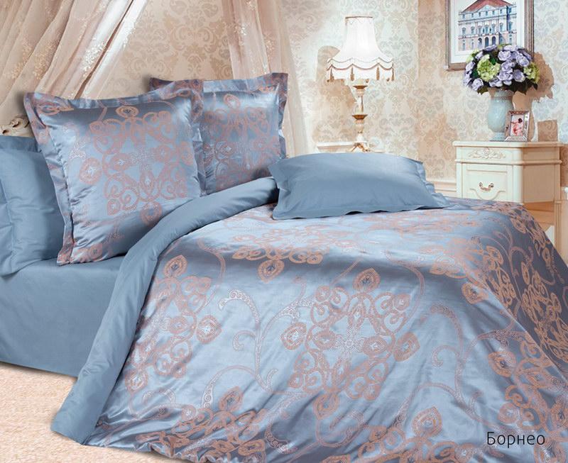 """Постельное белье """"Борнео"""" (сатин-жаккард) 2 спальный с Евро простынёй"""