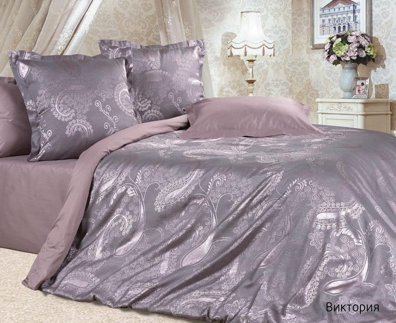 """Постельное белье """"Виктория"""" (сатин-жаккард) 2 спальный с Евро простынёй"""