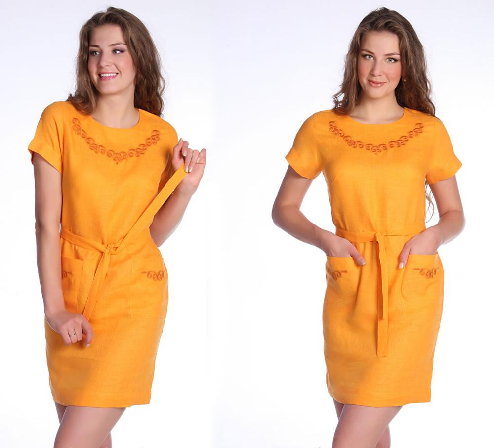 Льняное платье ВайлетПлатья<br>Одежда, нагруженная массой декоративных деталей и лишенная абсолютной гармонии в своем дизайне, никогда не подарит вам стильного образа. Другое дело -женское платье Вайлет, чей простой, но изящный дизайн вызовет у вас полный восторг!   Платье имеет прямой крой и короткие рукава, но быть бесформенным ему мешает наличие пояса, с помощью которого вы можете подчеркнуть линию талии и придать своему образу элегантности. Что касается расцветки, то платье выполнено в однотонном насыщенном цвете, а единственным украшением выступает вышивка у ворота и на карманах.   Стоит отметить, что в восторг вас привет не только дизайн женского платья Вайлет, но и то, что оно сшито из натурального льна, который используется для пошива легкой летней одежды. Также здесь Вы можете посмотреть каталог платьев.<br>Длина по спинке : 88 см Полуобхват груди под проймой : 47см Длина рукава с плечом : 25 см Полуобхват бедер : 48 см Ширина рукава под проймой : 18 см Размер: 46<br><br>Длина платья: Мини<br>Принадлежность: Женская одежда<br>Основной материал: Лен<br>Страна - производитель ткани: Россия, г. Пучеж<br>Вид товара: Одежда<br>Материал: Лен<br>Длина рукава: Короткий<br>Длина: 19<br>Ширина: 17<br>Высота: 9<br>Размер RU: 46