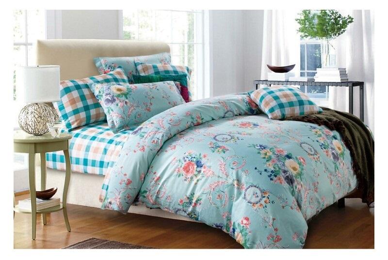 Постельное белье Икебана (сатин) 2 спальный с Евро простынёй