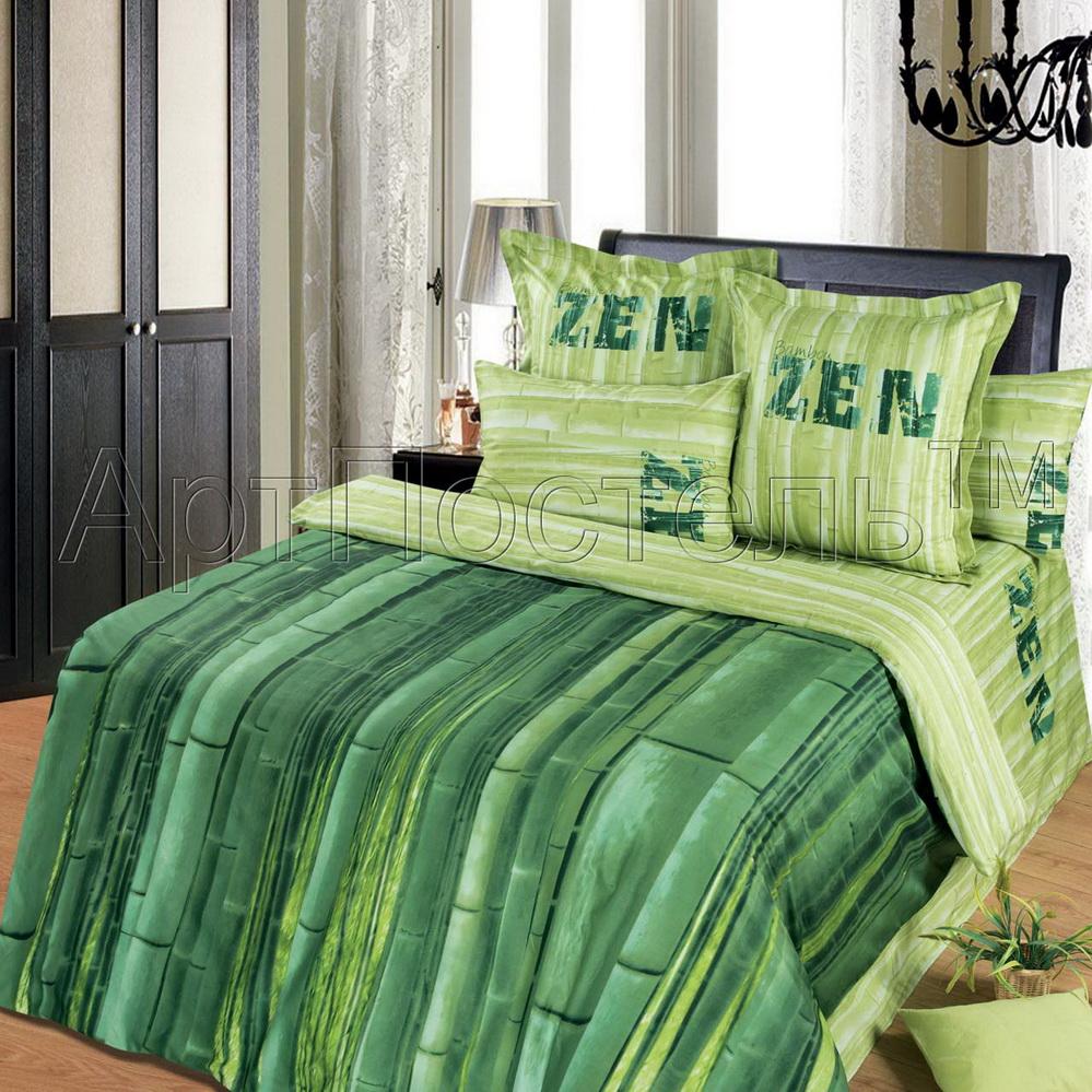 """Постельное белье """"Зеленый тростник"""" (сатин) 2 спальный с Евро простынёй от Grandstock"""