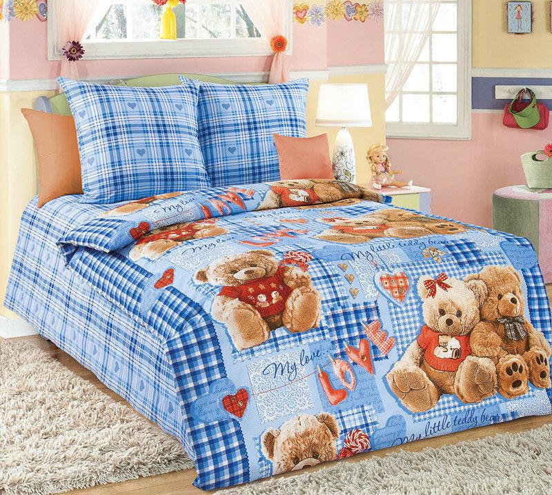 """Постельное белье """"Плюшевые мишки"""" синий (бязь) 1,5 спальный"""