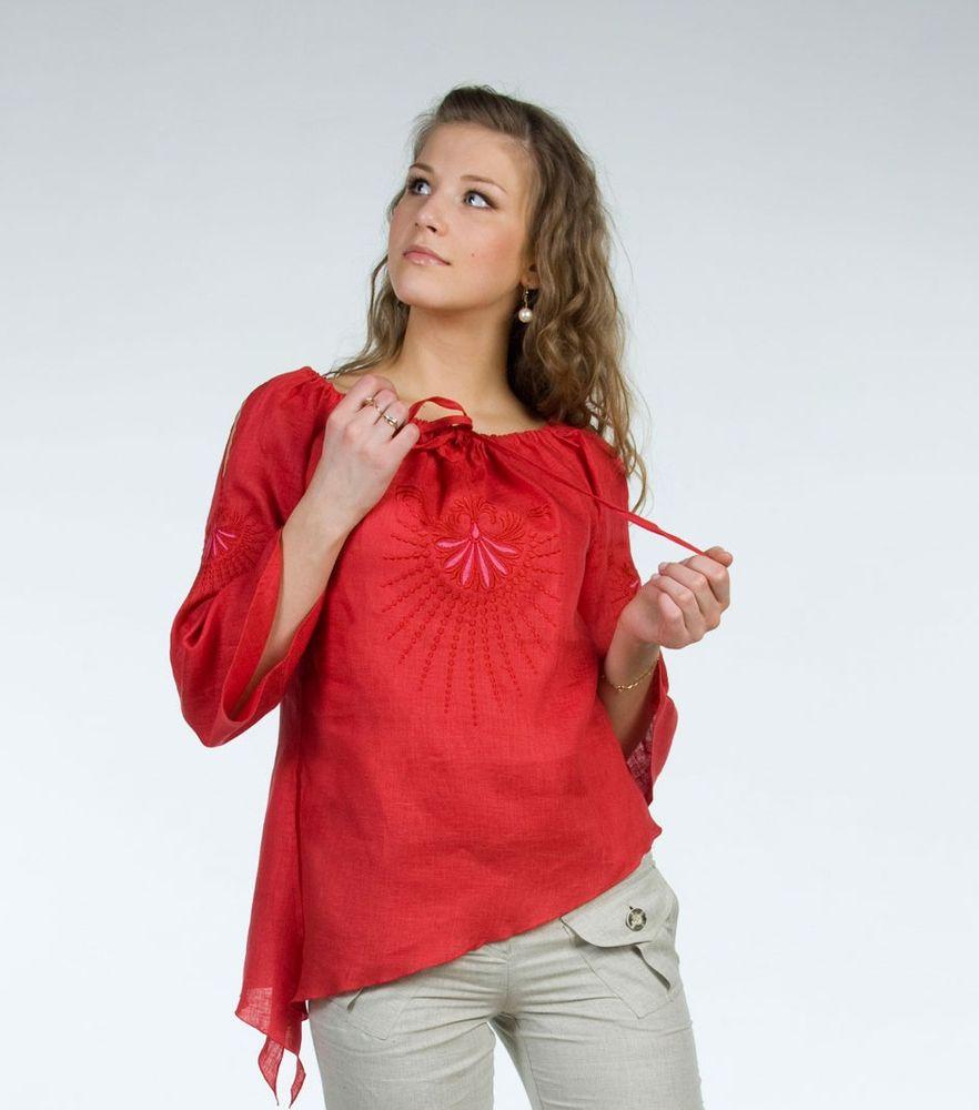 """Блузка льняная модель """"Мелисса"""" (большемерка) от Grandstock"""