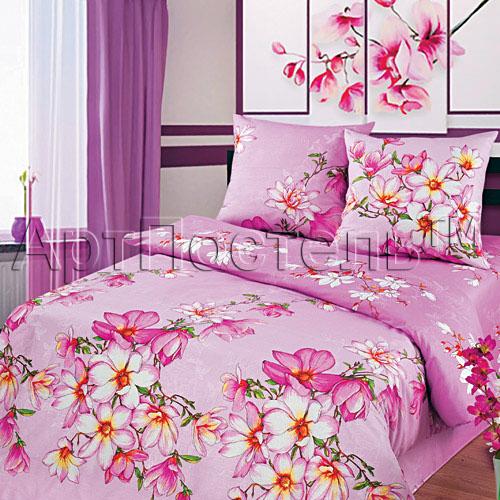 Постельное белье Магнолия розовый (бязь) 2 спальный с Евро простынёй