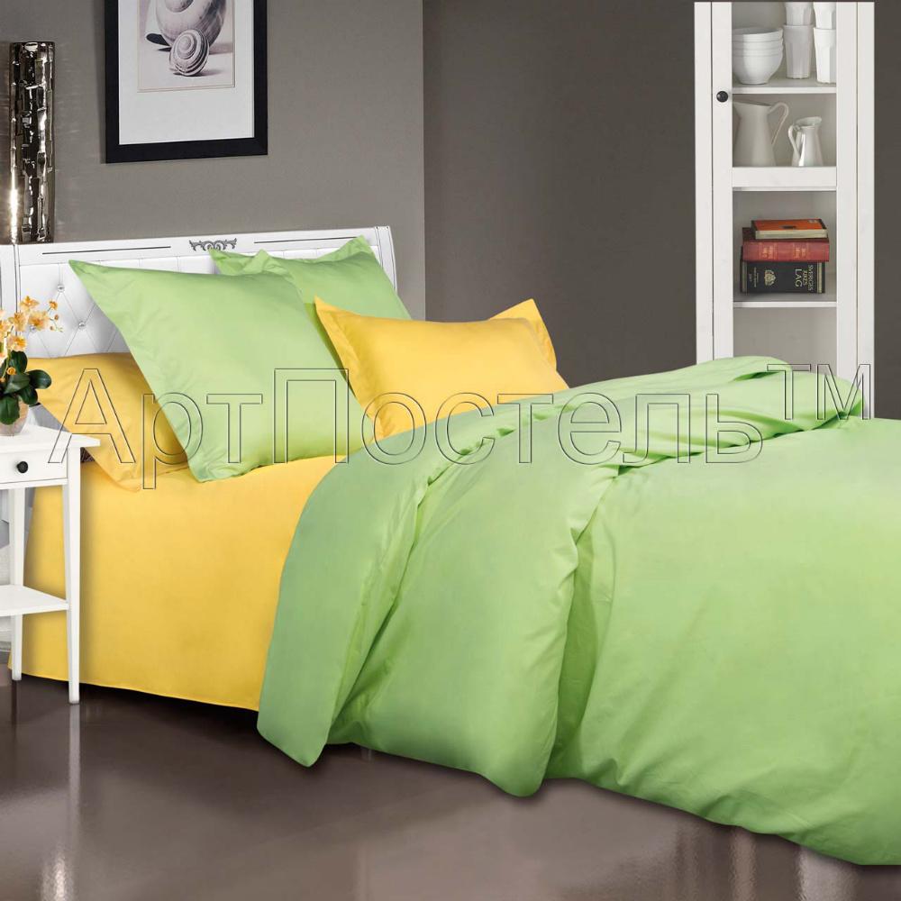 Постельное белье Лайм (сатин) 2 спальный с Евро простынёй