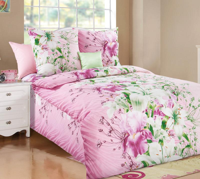 Постельное белье Магия цветов розовый (бязь) 1,5 спальный
