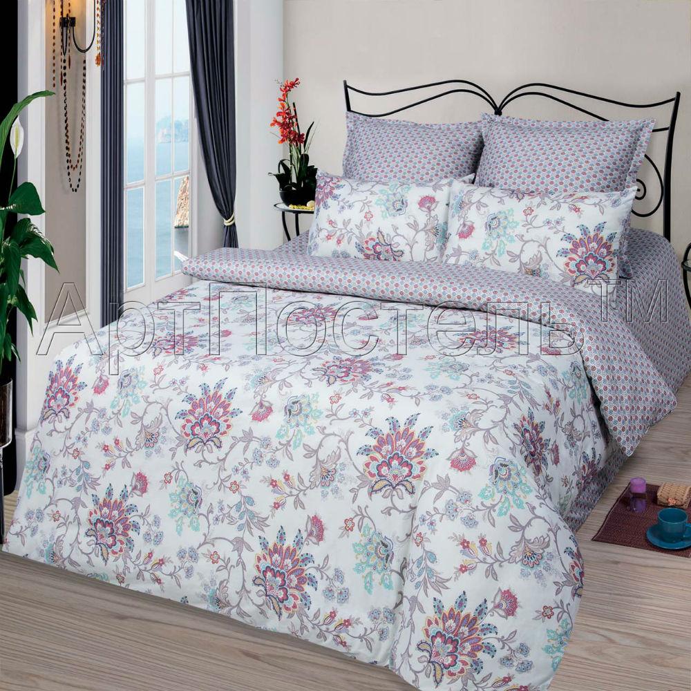 Постельное белье Виолетта (сатин) 2 спальный с Евро простынёй