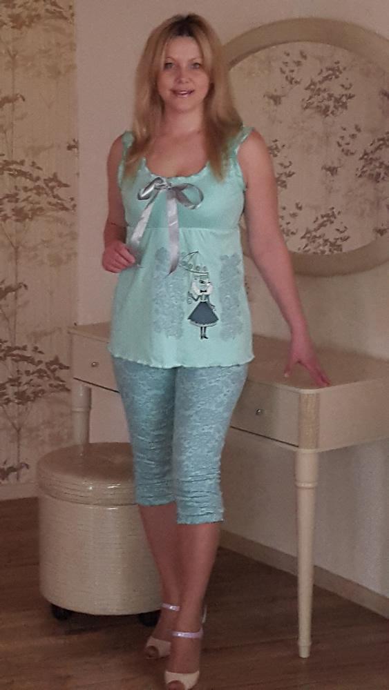 Пижама женская Прованс (бриджи)Пижамы<br>Размер: 44<br><br>Высота: 7<br>Размер RU: 44