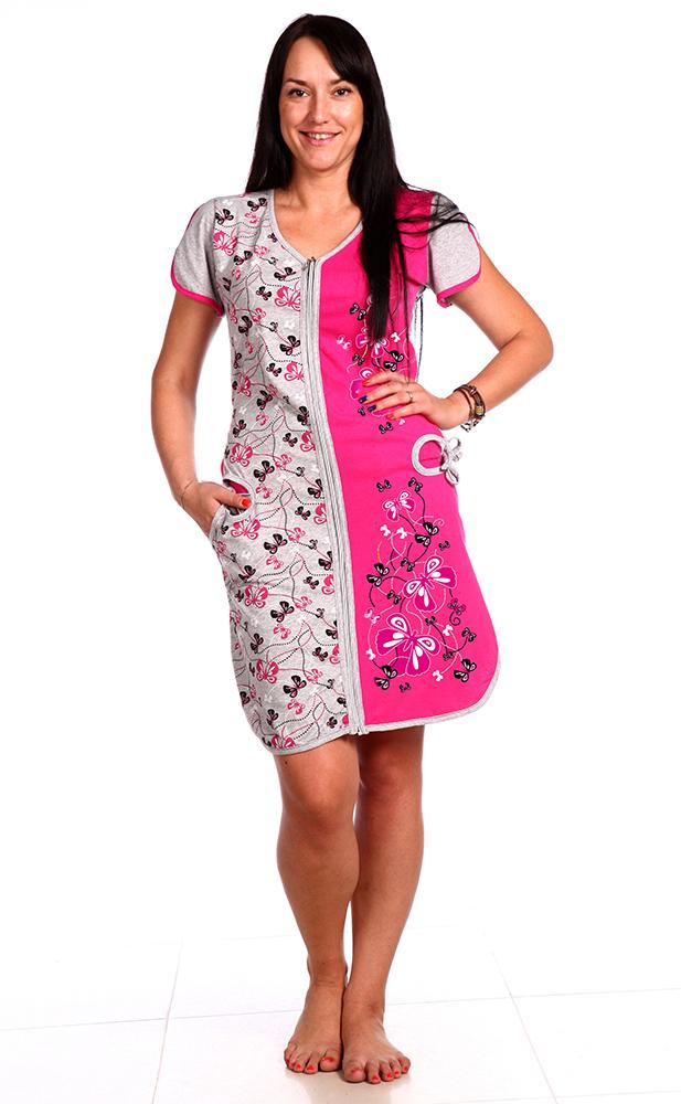 Халат женский Полет бабочкиЛегкие халаты<br>Скажите, может ли что-нибудь быть прекраснее бабочек? Конечно, нет, а потому ничего прекраснее женского халата Полет бабочки вы так же не сможете найти.   Первое, что в данной модели стоит отметить - это ее дизайн, выполненный в сочетании светло-серого и насыщенного розового цветов и украшенный принтом с изображением бабочек, порхающих по всей передней части изделия.   Не разочарует вас и практичная сторона халата, потому что он имеет приталенный крой, но при этом не стесняет ваше тело во время движения, а вы чувствуете себя совершенно легко и свободно; также халат имеет два боковых кармана и замок-молнию. Размер: 44<br><br>Принадлежность: Женская одежда<br>Основной материал: Кулирка<br>Страна - производитель ткани: Россия, г. Иваново<br>Вид товара: Одежда<br>Материал: Кулирка<br>Сезон: Лето<br>Тип застежки: Молния<br>Длина рукава: Короткий<br>Длина: 19<br>Ширина: 17<br>Высота: 9<br>Размер RU: 44