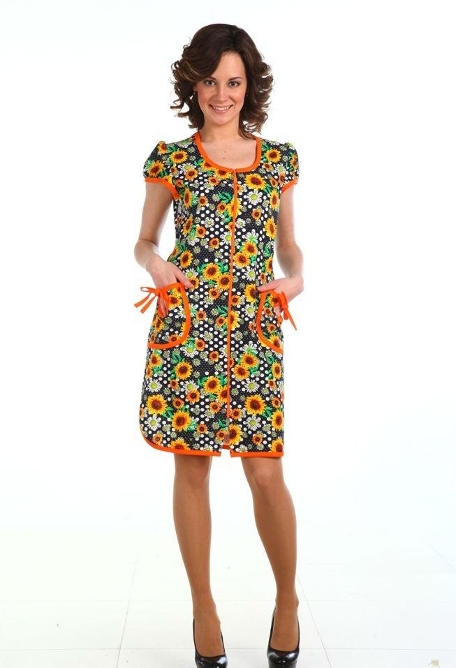 Халат женский ЛейтенаЛегкие халаты<br>Халат женский Лейтена - халат для дома из кулирки на молнии с круглым вырезом горловины. Стильный халат выполнен в трех замечательных расцветках, дополнен карманами и имеет чудесный принт в ромашку.<br>Актуальная версия домашней элегантной одежды, в нем чувствуешь себя свободно и красиво. Интернет-магазин халаты женские представляет в разных фасонах и цветовой гамме.<br>Размеры: 46-60. Размер: 48<br><br>Принадлежность: Женская одежда<br>Основной материал: Кулирка<br>Страна - производитель ткани: Россия, г. Иваново<br>Вид товара: Одежда<br>Материал: Кулирка<br>Сезон: Лето<br>Тип застежки: Молния<br>Состав: 100% хлопок<br>Длина рукава: Короткий<br>Длина: 19<br>Ширина: 17<br>Высота: 9<br>Размер RU: 48