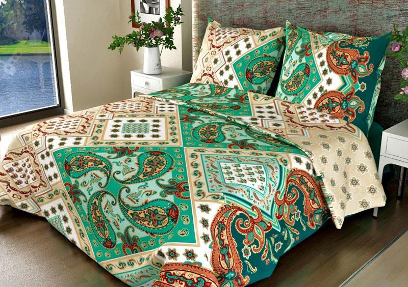 """Постельное белье """"Танго зеленый GS"""" (бязь) 1,5 спальный"""