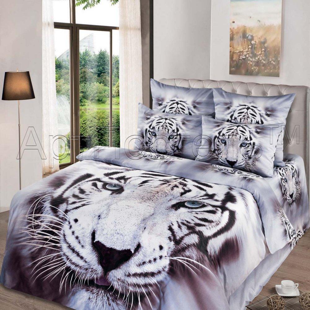 """Постельное белье """"Белый король 3D"""" (сатин) 1,5 спальный"""
