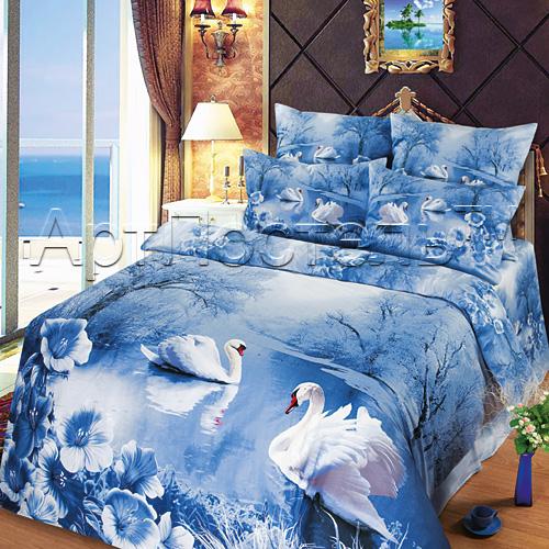 Постельное белье Зимняя сказка 3D (сатин) 2 спальный с Евро простынёй