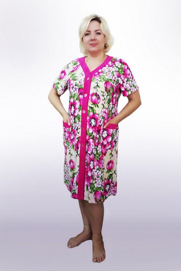 Халат женский УютЛегкие халаты<br>Пуговичный халат. Длина около 110-115 см. Размер: 60<br><br>Высота: 9<br>Размер RU: 60