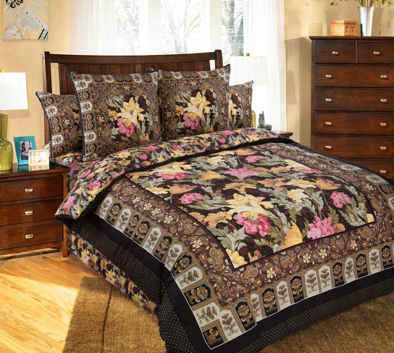 Постельное белье Маргарита (сатин) 2 спальный с Евро простынёй