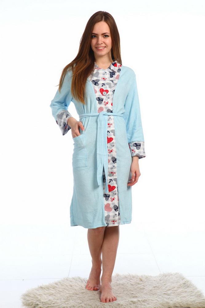 Халат женский ДушкаТеплые халаты<br>Халат выполнен в комбинации однотонной махры и набивной кулирки.  Длина около 100-105 см. Материал - махра, кулирка. Размер: 52<br><br>Принадлежность: Женская одежда<br>Основной материал: Трикотаж<br>Вид товара: Одежда<br>Материал: Трикотаж<br>Длина изделия: 100-105 см<br>Состав: 80% хлопок, 20% полиэстер<br>Длина рукава: Средний<br>Длина: 30<br>Ширина: 20<br>Высота: 11<br>Размер RU: 52