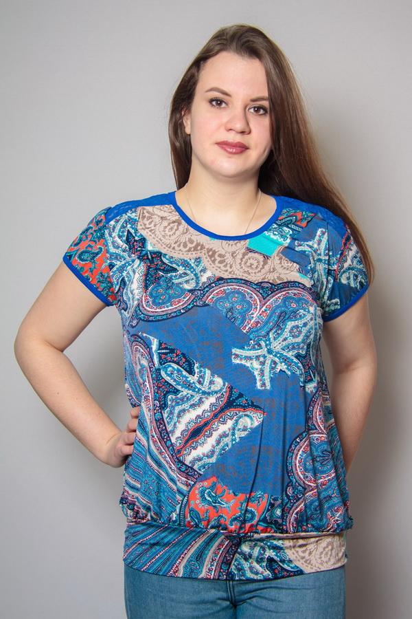 Блузка женская РозалияБлузки<br>Размер: 52<br><br>Принадлежность: Женская одежда<br>Основной материал: Трикотаж<br>Вид товара: Одежда<br>Материал: Трикотаж<br>Длина: 18<br>Ширина: 12<br>Высота: 7<br>Размер RU: 52
