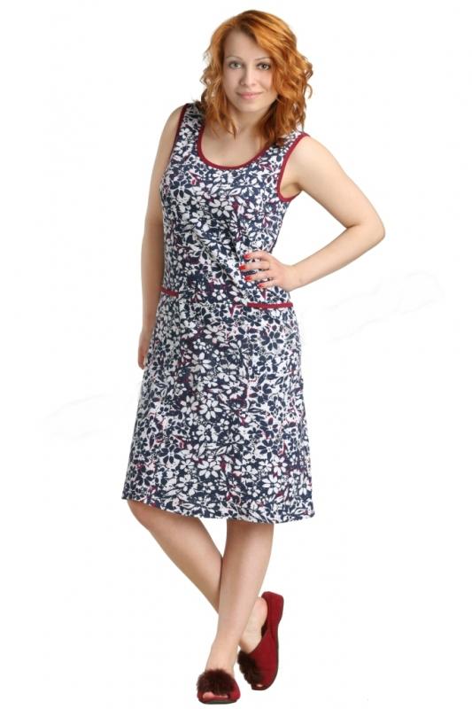 Платье женское АбеллаПлатья<br>Отличным пополнением повседневного гардероба станет женское платье Абелла с непринужденным цветочным орнаментом. Оно отлично подойдет для дома, прогулок, отдыха, походов в магазин или поездок на дачу.<br>Кулирка - особая разновидность однослойного эластичного полотна поперечной вязки. Специальная технология изготовления делает ткань воздушной, невесомой, легкой. Такие вещи долго носятся, легко складываются и не мнутся, не нуждаются в регулярной глажке. А непосредственно при стирке они не садятся, не вытягиваются и сохраняют изначальный вид.<br>Особенность женского платья Абелла - простой крой без рукавов в сочетании с яркой, контрастной отделкой. Размер: 52<br><br>Принадлежность: Женская одежда<br>Основной материал: Кулирка<br>Страна - производитель ткани: Россия, г. Иваново<br>Вид товара: Одежда<br>Материал: Кулирка<br>Сезон: Лето<br>Длина по спинке : 48 размер - 99 см; 50-58 размер - 107 см<br>Тип застежки: Без застежки<br>Состав: 100% хлопок<br>Длина рукава: Без рукава<br>Длина: 18<br>Ширина: 12<br>Высота: 7<br>Размер RU: 52