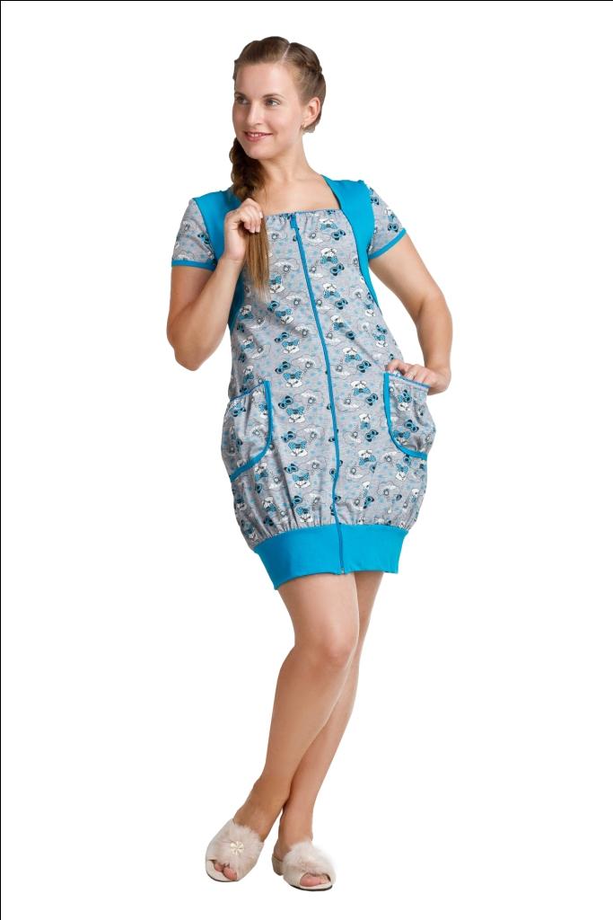 Халат женский ГолубаЛегкие халаты<br>Халат женский Голуба из кулирного полотна, модель короткая, полуприталенная, застежка на молнии. Низ трикотажного изделия собран на широкую резинку, что делает халат еще более женственным. Яркая окантовка, декоративные цветные вставки, симпатичные карманы - в таком домашнем халате чувствуешь себя просто королевой. Халат внешне походит на тунику. Практичный материал сделает Ваше домашнее пребывание комфортным и удобным. Модные женские халаты на молнии можно заказать в любой цветовой гамме. <br>Размеры: 42-58 Размер: 54<br><br>Принадлежность: Женская одежда<br>Основной материал: Кулирка<br>Вид товара: Одежда<br>Материал: Кулирка<br>Длина изделия: 42-44 размеры - 91 см; 46-48 размеры - 92 см; 50-58 размеры - 98 см.<br>Состав: 100% хлопок<br>Длина рукава: Короткий<br>Длина: 19<br>Ширина: 17<br>Высота: 9<br>Размер RU: 54