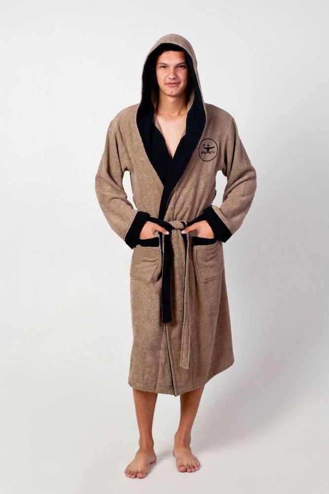 Халат мужской СпортивныйТеплые халаты<br>Если вы думаете, что халат - это предмет исключительно женского гардероба, то вы ошибаетесь. И поймете это, когда взгляните на мужской халат Спортивный, представленный в нашем каталоге мужской одежды.<br>Халат выполнен из качественной махровой ткани, отличающейся мягкой текстурой, которая сохраняет свои свойства даже после многочисленных стирок. Что касается дизайна халата, то он выполнен в лаконичном стиле и гармоничном сочетании основного цвета с черной отделкой по краям. Кроме того, он имеет капюшон и два вместительных кармана. <br>Мужской халат Спортивный представлен в каталоге в нескольких расцветках и большой размерной сетке. <br>Размер 44-58 - рост 176 Размер: 48<br><br>Высота: 11<br>Размер RU: 48