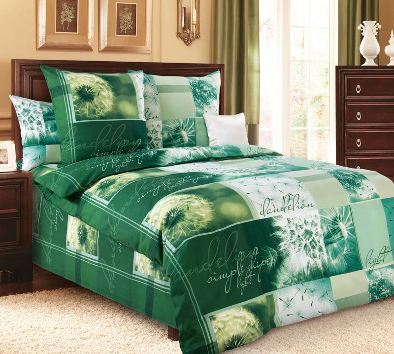 """Постельное белье """"Одуванчик"""" зеленый (бязь) 1,5 спальный"""