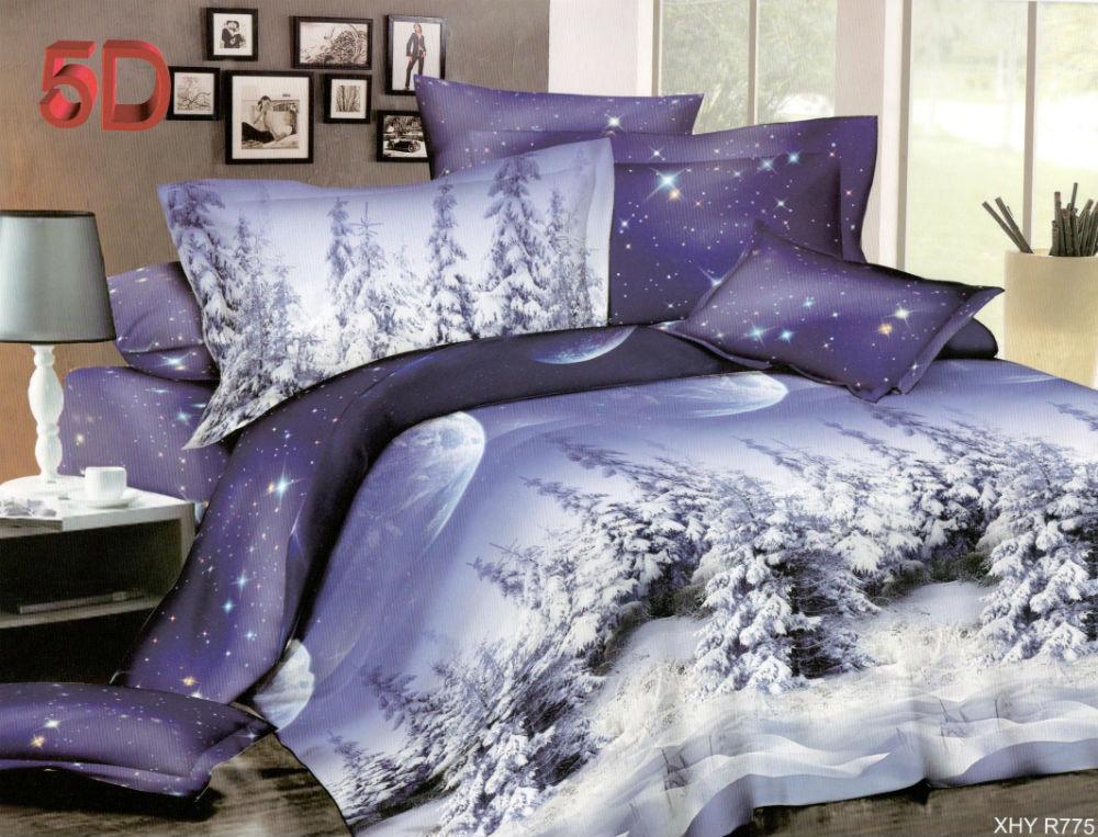 """Постельное белье """"Зимний лес"""" 5D (полиэстер) 1,5 спальный"""