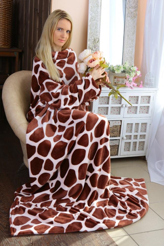 Плед с рукавами Жираф (велсофт) 140х180Пледы для взрослых<br>Размер: 140х180<br><br>Высота: 17<br>Размер RU: 140х180