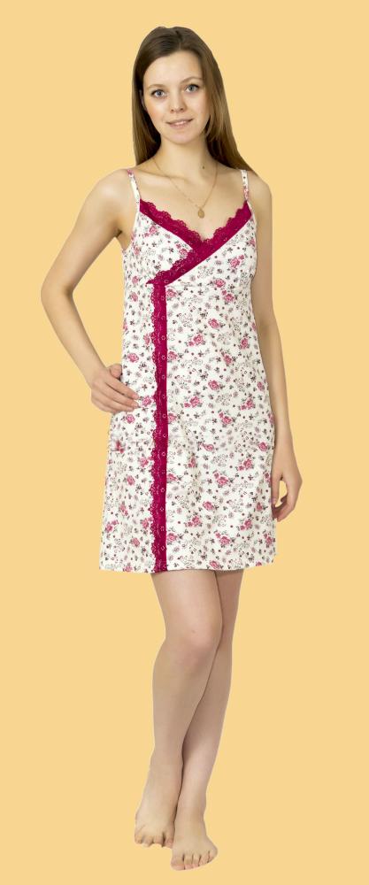 Ночная сорочка КайсаСорочки и ночные рубашки<br>Какой обязательно должна быть идеальная одежда для сна? Естественно, свободной, удобной, безвредной и практичной. Этим критериям безусловно соответствует ночная сорочка Кайса.<br>Материал - кулирка. Для бельевого трикотажа используется ткань с минимальной поверхностной плотностью. Причем она достаточно прочна и износостойка, чтобы отлично переносить повседневную носку и регулярные стирки. Кулирка почти не мнется, держит и долго сохраняет форму, не растягивается, не садится. Для ухода достаточно соблюдать температурный режим стирки.<br>Женственная и изящная ночная сорочка Кайса на тонких бретелях и с декоративной отделкой представлена в нескольких цветовых вариациях.  Размер: 42<br><br>Принадлежность: Женская одежда<br>Основной материал: Кулирка<br>Страна - производитель ткани: Россия, г. Иваново<br>Вид товара: Одежда<br>Материал: Кулирка<br>Длина рукава: Без рукава<br>Длина: 18<br>Ширина: 12<br>Высота: 7<br>Размер RU: 42