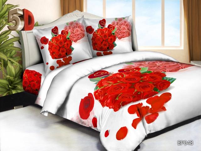 """Постельное белье """"Букет роз"""" 5D (жатка) 1,5 спальный"""
