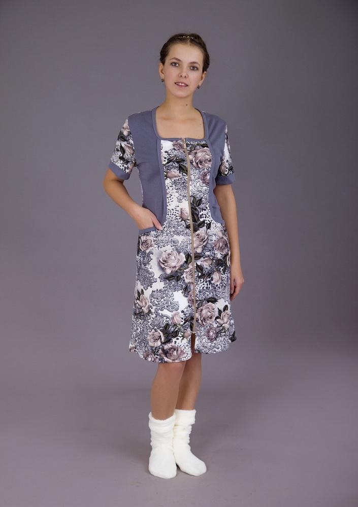 Халат женский Серая розаЛегкие халаты<br>Размер: 50<br><br>Принадлежность: Женская одежда<br>Основной материал: Трикотаж<br>Вид товара: Одежда<br>Материал: Трикотаж<br>Длина рукава: Короткий<br>Длина: 19<br>Ширина: 17<br>Высота: 9<br>Размер RU: 50