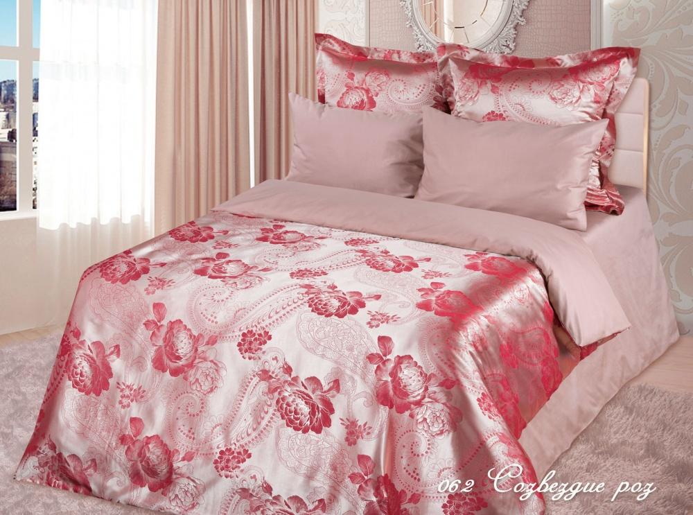 """Постельное белье """"Созвездие роз"""" (сатин-жаккард) 2 спальный с Евро простынёй"""
