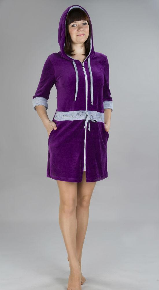 Халат женский ВайгеоТеплые халаты<br>Халат женский:<br>- Силуэт приталенный<br>- С капюшоном<br>- На молнии<br>- Рукава 3/4<br>- Капюшон, манжеты и декоративная вставка по линии талии из  отделочной ткани Размер: 50<br><br>Принадлежность: Женская одежда<br>Основной материал: Велюр<br>Страна - производитель ткани: Россия, г. Иваново<br>Вид товара: Одежда<br>Материал: Велюр<br>Состав: 80% хлопок, 20% полиэстер<br>Длина рукава: Средний<br>Длина: 30<br>Ширина: 20<br>Высота: 11<br>Размер RU: 50
