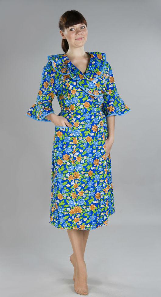 Халат женский ВейлаЛегкие халаты<br>Невероятно нежный во всех смыслах этого слова - как вы думаете, о чем же идет речь? Конечно же, о новом женском халате Вейла! <br>Данная модель имеет женственный фасон и элегантный дизайн под стать своему названию. Вейла - это нарядный халатик из натуральной ткани с красиво оформленными рукавами 3/4. Вам понравится средняя длина халата и его прямой крой, благодаря которым халат такой удобный в носке, что вы будете просто в восторге от него, стоит вам только надеть его на себя! <br>Расцветка халата Вейла - это отдельный разговор, потому что в ней использована приятная насыщенная гамма, а после стирки халат не потеряет своей яркости и прочности.<br> Размер: 56<br><br>Принадлежность: Женская одежда<br>Основной материал: Бязь<br>Страна - производитель ткани: Россия, г. Иваново<br>Вид товара: Одежда<br>Материал: Бязь<br>Тип застежки: Без застежки<br>Состав: 100% хлопок<br>Длина рукава: Длинный<br>Длина: 19<br>Ширина: 17<br>Высота: 9<br>Размер RU: 56