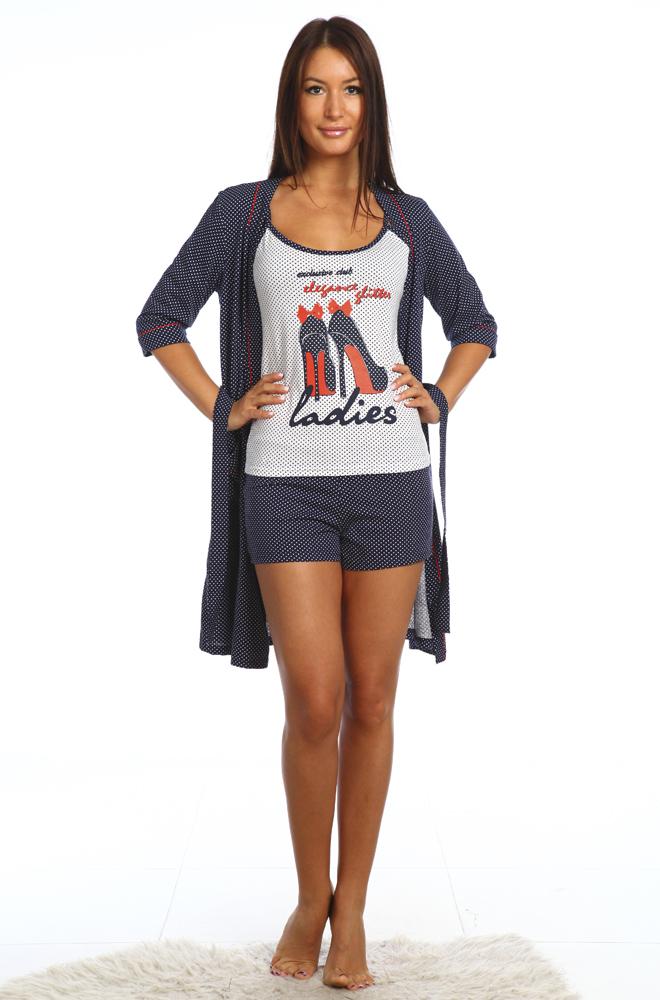 Комплект женский ТуфелькаНочные комплекты<br>Не можете подобрать себе уютную одежду для дома? Надоели скучные халаты и растянутые футболки? Или не можете придумать, что подарить родственницам или подруге? Не беда!<br>Женский комплект Туфелька - стильная находка для любительниц сдержанности и комфорта. В ассортименте - разные размеры. Изделие выполнено из кулирки, легкой, приятной коже, неприхотливой ткани. Одежда из кулирки пропускает воздух, не стесняет движений и не вызывает раздражения. В комплекте три вещи &amp;amp;mdash; майка, шортики и халат с запахом. Женственный изящный фасон отлично сочетается с симпатичной расцветкой в горошек, который придает образу игривости и легкости.<br>Не тратьте время на утомительные и бессмысленные поиски! Обратите внимание на женский комплект Туфелька, приятный дизайн и высокое качество которого порадуют даже самых взыскательных покупательниц. Размер: 44<br><br>Высота: 9<br>Размер RU: 44
