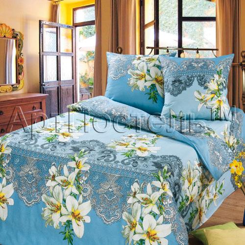 """Постельное белье """"Лилии"""" голубой (бязь) 1,5 спальный"""