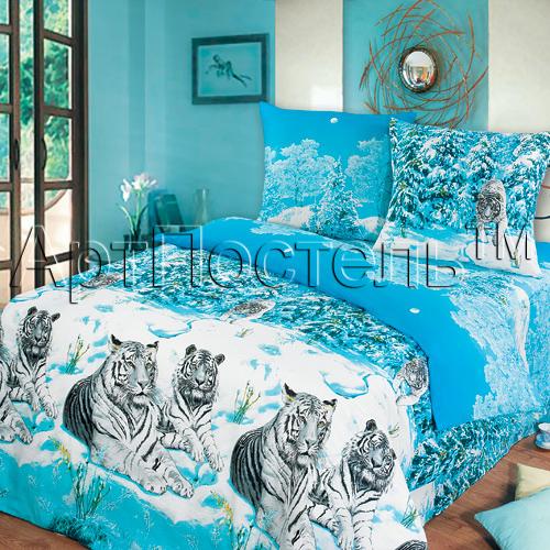 Постельное белье Символ удачи синий (бязь) 2 спальный с Евро простынёй
