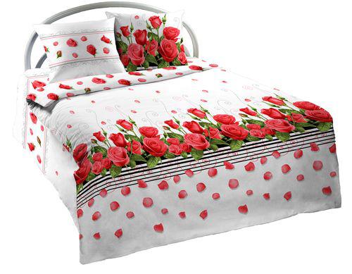 """Постельное белье """"Красная роза"""" (бязь) 2 спальный с Евро простынёй от Grandstock"""