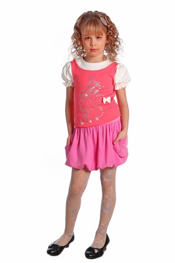 Блузка детская Лэрри (короткий рукав)Блузки<br>Повседневная нарядная блузка с апликацией. Рисунок выполнен из глитера. Размер: 30<br><br>Принадлежность: Детская одежда<br>Возраст: Подростковый возраст (11-17 лет)<br>Пол: Девочка<br>Основной материал: Интерлок<br>Вид товара: Детская одежда<br>Материал: Интерлок<br>Длина: 18<br>Ширина: 12<br>Высота: 2<br>Размер RU: 30
