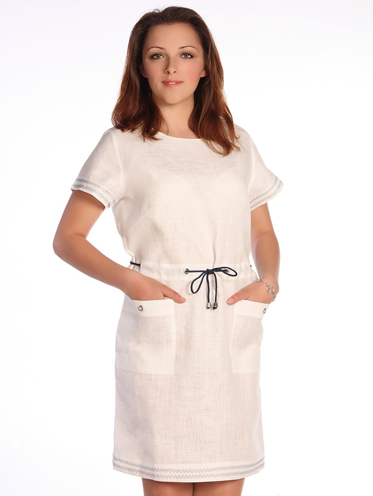 Льняное платье ФенеллаПлатья<br>Легкое и невероятно нежное - только имея в своем гардеробе такое платье, вы можете быть абсолютно готовы к предстоящему летнему сезону. А если такого платья у вас еще нет, то это не беда - им может стать модель Фенелла.  Первое, что стоит отметить в данной модели, - это то, что она сшита из натурального и дышащего льна, а потому равных данному платью в вашем гардеробе точно не будет! Оно позволит вам чувствовать себя легко и комфортно даже в самую жаркую погоду, позволив вашему телу дышать.   Помимо этого, женское платье Фенелла имеет прямой крой и кулиску, с помощью которой вы можете выделить линию талии и сделать свой образ еще более женственным и элегантным.<br>Длина по спинке : 86<br><br>Полуобхват груди под проймой : 47<br><br>Длина рукава с плечом : 24<br><br>Полуобхват бедер : 48<br><br>Ширина рукава под проймой : 18<br> Размер: 48<br><br>Высота: 9<br>Размер RU: 48