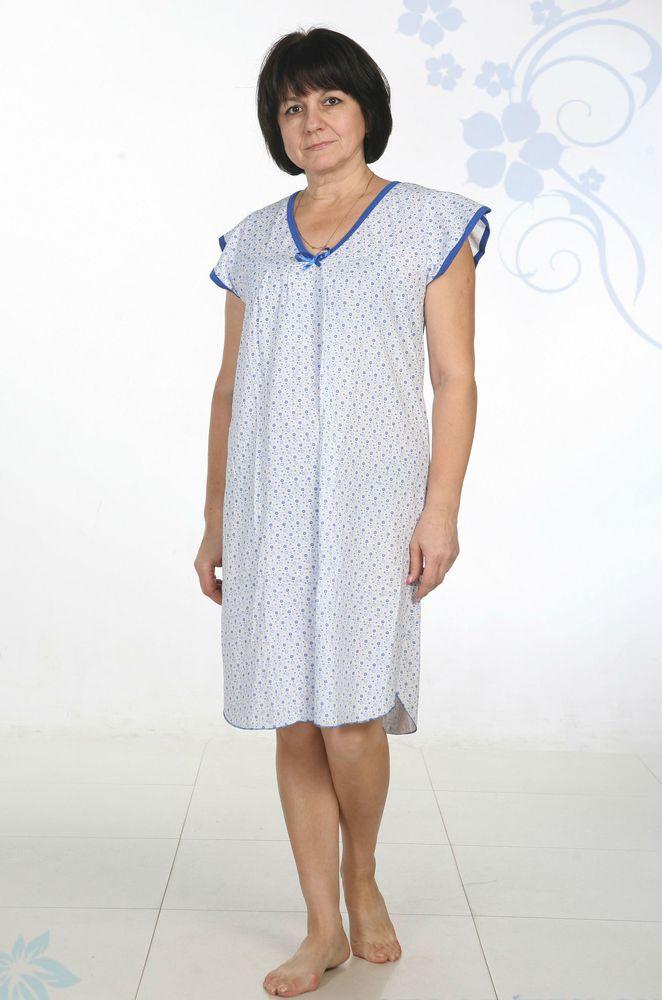 Ночная сорочка ОливияСорочки и ночные рубашки<br>Ночная сорочка женская. На переднем полотнище полукруглая кокетка, под ней заложены складочки с двух сторон. Горловина, край крыла и низ сорочки окантованы отделочной окантовкой. На груди бантик из атласной ленты. Размер: 52<br><br>Принадлежность: Женская одежда<br>Основной материал: Кулирка<br>Вид товара: Одежда<br>Материал: Кулирка<br>Сезон: Лето<br>Состав: 100% хлопок<br>Длина: 18<br>Ширина: 12<br>Высота: 7<br>Размер RU: 52