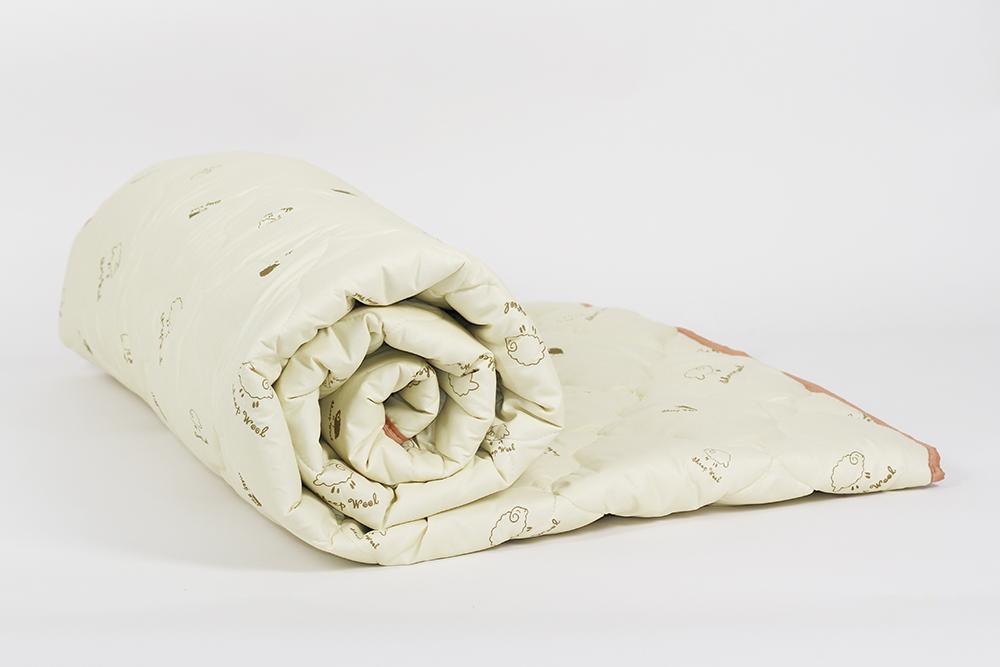 """Одеяло зимнее """"Первый снег"""" (овечья шерсть, тик) 1,5 спальный (140*205)"""