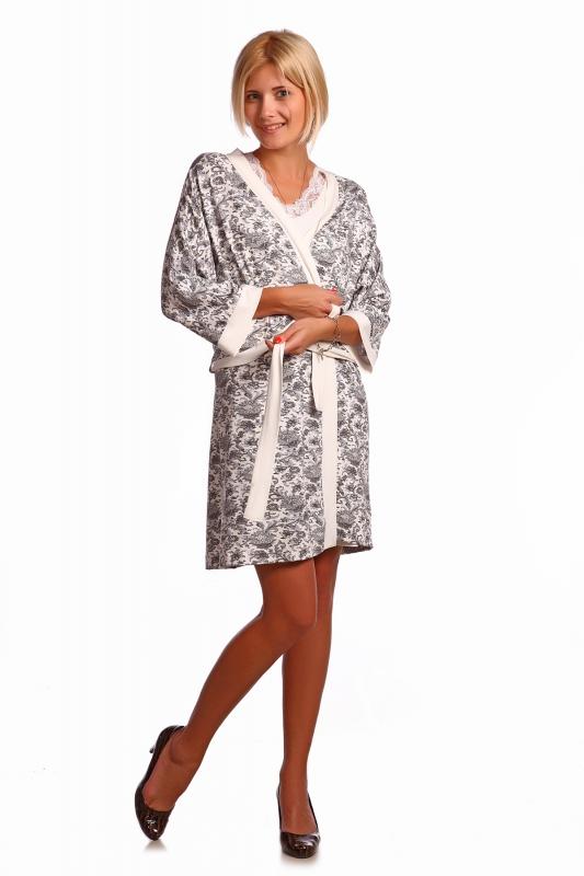 Комплект женский МелодиНочные комплекты<br>Комплект вискоза, халатик запашной, спущенный рукав на манжете, широкий пояс. Ночная сорочка в тон халата, без рукава, V-образный вырез, по бокам разрезы. Горловина, рукав и разрезы отделка кружево. Размер: 54<br><br>Принадлежность: Женская одежда<br>Основной материал: Вискоза<br>Страна - производитель ткани: Россия, г. Иваново<br>Вид товара: Одежда<br>Материал: Вискоза с лайкрой<br>Состав: 95% вискоза, 5% лайкра<br>Длина: 25<br>Ширина: 17<br>Высота: 9<br>Размер RU: 54