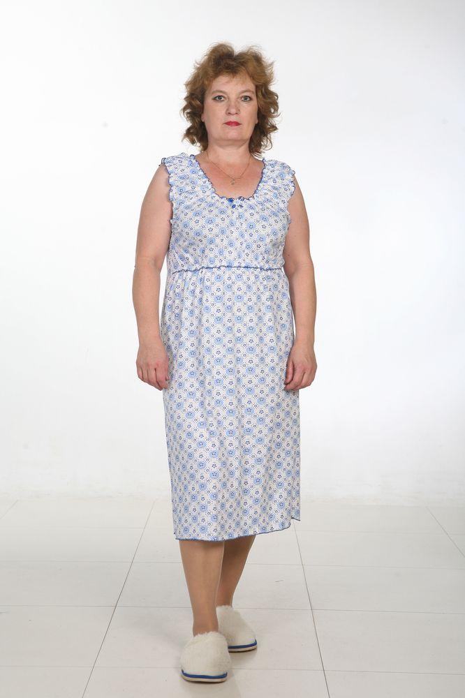 Ночная сорочка ЦветыСорочки и ночные рубашки<br>Ночная сорочка из кулирки. Горловина и проймы собраны на резинку, их края и низ сорочки обработаны краевым швом. <br>Нитки в тон сорочки. На груди кокетка тоже собрана на резинку. Отделка-атласный бантик, в центре-цветочек.  Размер: 62<br><br>Принадлежность: Женская одежда<br>Основной материал: Кулирка<br>Вид товара: Одежда<br>Материал: Кулирка<br>Состав: 100% хлопок<br>Длина: 18<br>Ширина: 12<br>Высота: 7<br>Размер RU: 62