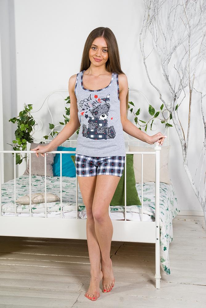 Пижама женская ТеддиПижамы<br>Не можете подобрать одежду для сна? Ищите яркий, необычный комплект, который сможет поднять настроение в любое время? Надоели традиционные сорочки, длинные штаны и закрытые кофты?<br>Таким приобретением станет пижама женская Тедди. Романтичный, непринужденный дизайн будет постоянно улучшать настроение, а удобный крой не причиняет дискомфорта. Кулирка - тонкое, мягкое и износостойкое хлопковое полотно, хорошо пропускающее воздух, не растягивающееся и неприхотливое при уходе.<br>Модный, практичный и недорогой комплект женской пижамы Тедди - настоящая находка для дома, а также хороший подарок.<br>Женская пижама в интернет-магазине - это не просто одежда для дома и сна, это стильный и необходимый элемент Вашего гардероба.<br><br>Длина изделия:<br>44 размер: длина майки - 57 см, длина шорт - 46 см. Размер: 44<br><br>Высота: 7<br>Размер RU: 44